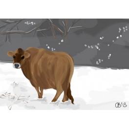 Furry Moo in snow print